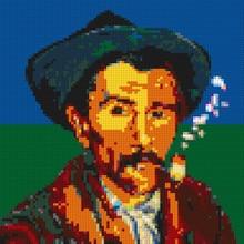 Pixel Art DIY Set Creative Gift Mosaic Painting Post-Impressionism Van Gogh Self-portrait 9 32*32 Studs Plates Building Blocks