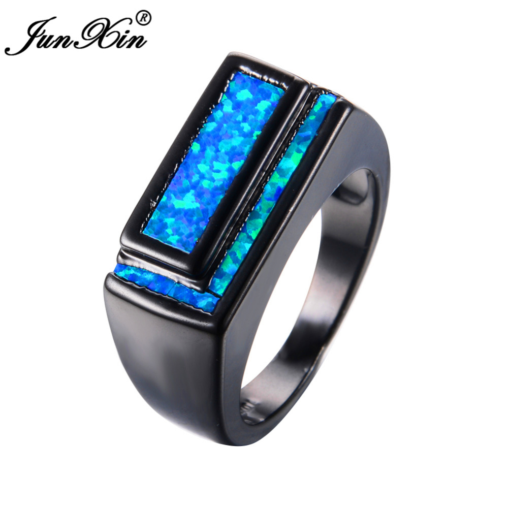 Junxin New Geometric Design Men Women Blue Fire Opal Ring Vintage Black  Gold Wedding Rings Classical Jewelry Gifts