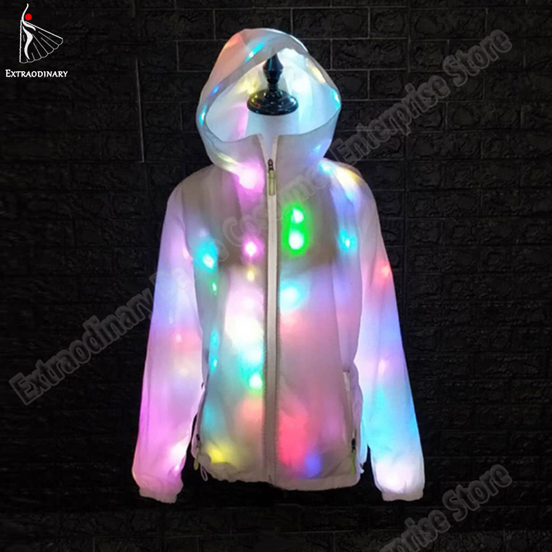 LED Party Clothes Colorful Glowing Casual Top Flashing Lights Jacket Coat Pants Costumes Set Luminous Christmas Halloween Party