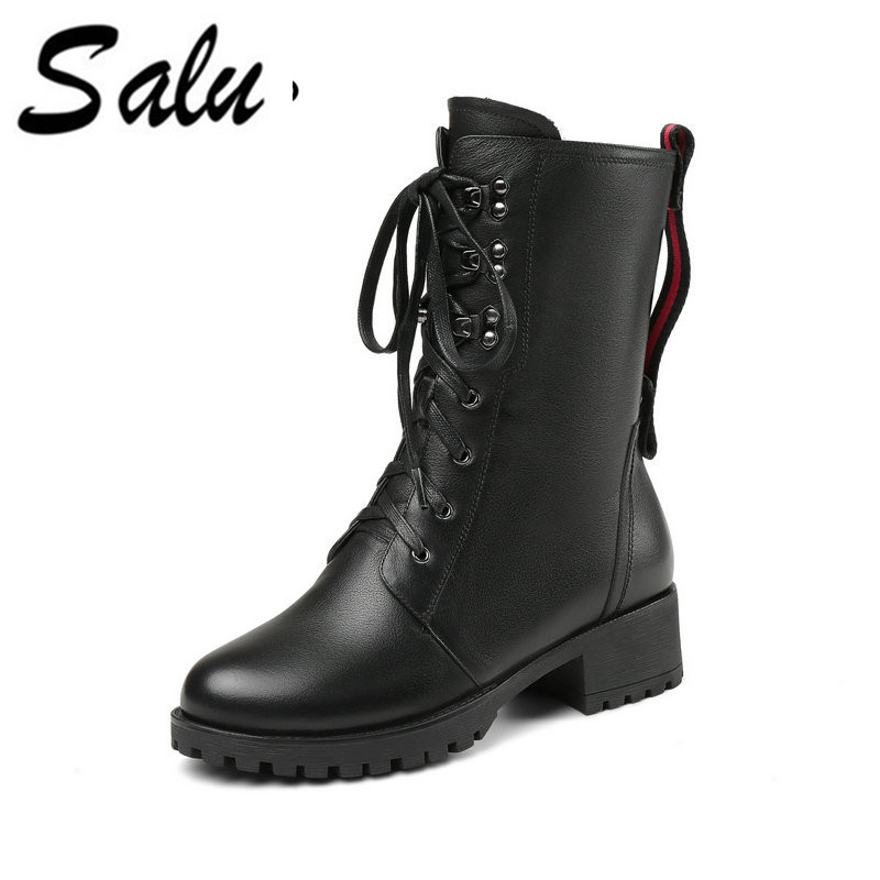 Salu Handmade Genuine Leather Ankle Boots Women Black Zipper Round Toe Lace-Up Shoes Short Plush Warm Winter Boots