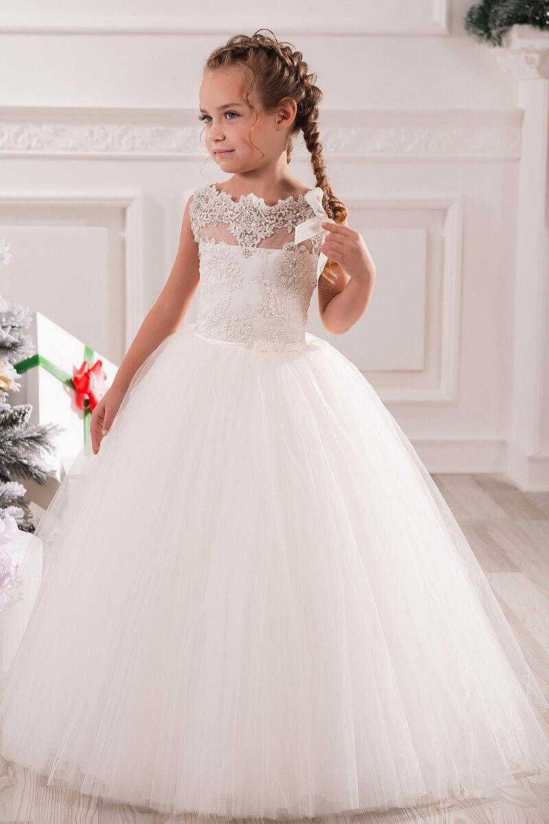 7281 Vestidos Blancos De Marfil Para La Primera Comunión Vestidos Bonitos Para Niñas In Vestidos De Flores De Niña From Bodas Y Eventos On