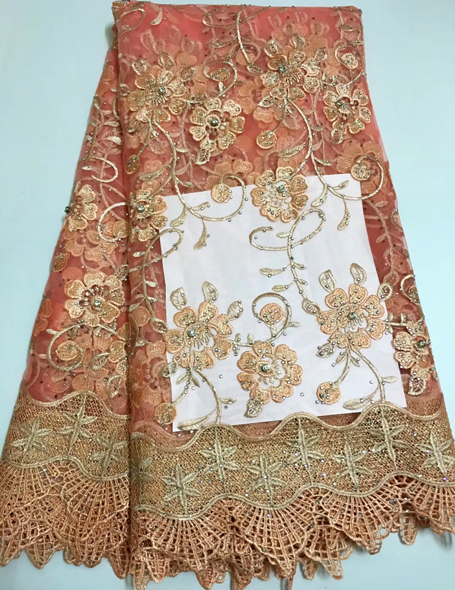 2018 Newest Styles Peach Embroidery African Guipure Lace Fabric High Quality French Mesh lace fabric with beads2018 Newest Styles Peach Embroidery African Guipure Lace Fabric High Quality French Mesh lace fabric with beads