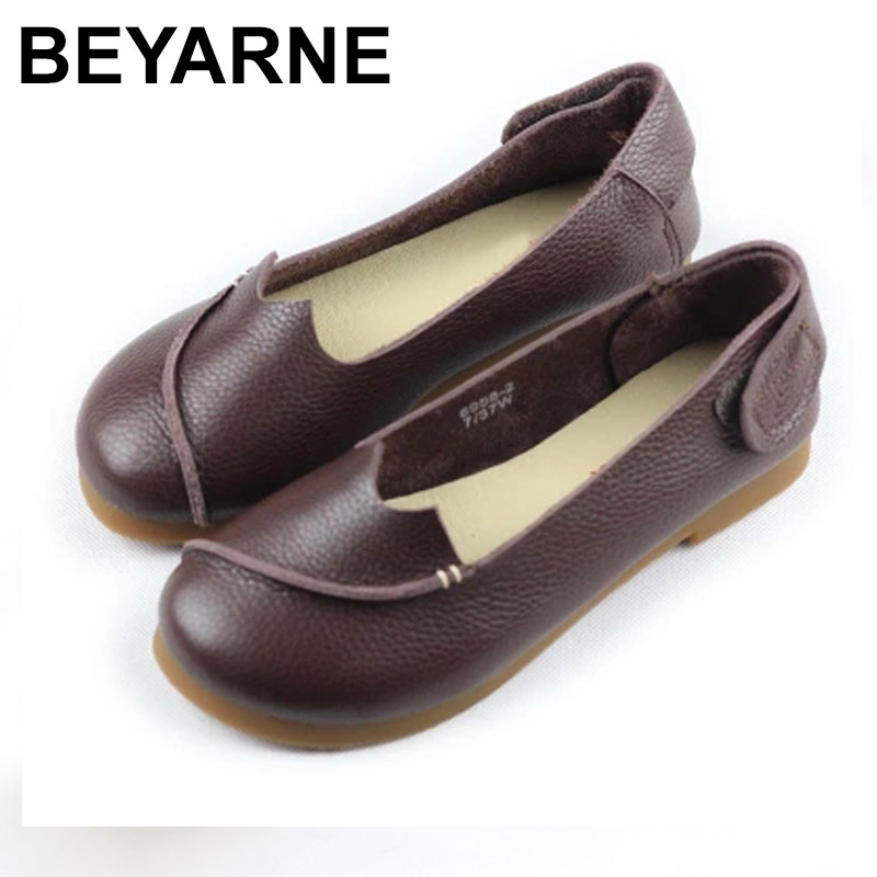 BEYARNE Woman Shoes flat Coffee/Brown/Black Genuine Leather Slip on Flat Shoes with Thick Rubber Sole essence d926 110