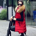 2017 Winter Long Vest Women Colete Feminino Faux Fur Hooded Cotton Padded Outerwear Vest