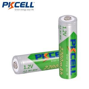 Image 3 - 8 قطعة/البطارية PKCELL AA NIMH 1.2 فولت 2200 مللي أمبير ni mh 2A 1.2 فولت منخفضة التفريغ الذاتي دائم AA بطاريات قابلة للشحن Bateria Baterias