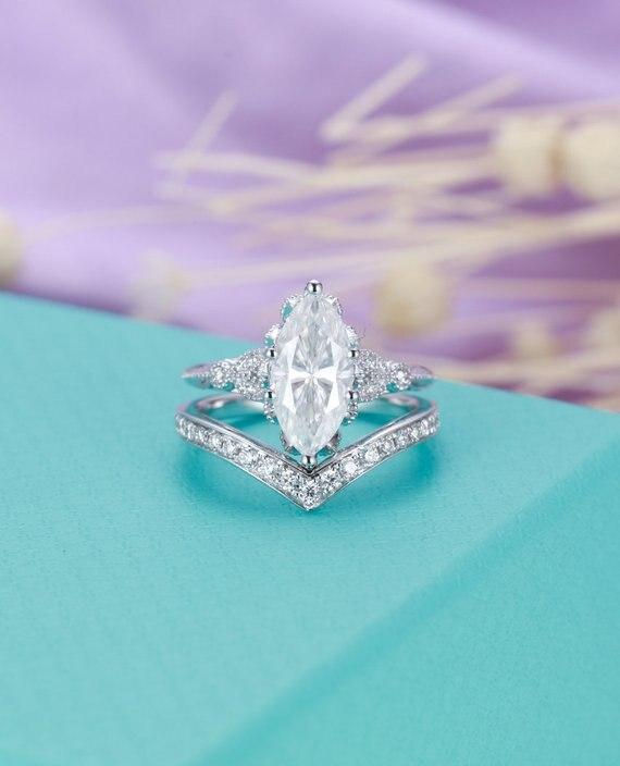 MYRAY 14 К белый желтый розовое золото маркиза форме Moissanite Обручение кольцо с бриллиантами обручальное Для женщин свадебный набор подарок