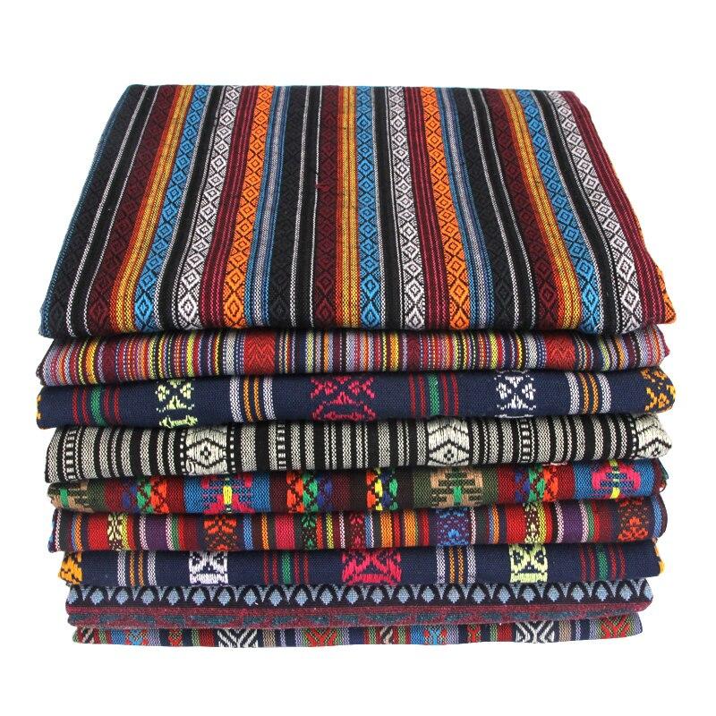 "50x150 ס""מ אתני סגנון כותנה פשתן רטרו בוהמיה בד DIY בעבודת יד טקסטיל תפירת טלאים עבור שקיות בגדי ספה שולחן בד"