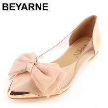 Hot-selling ol princess shoes bow transparent film shoes metal flat pointed toe flatsLarge size 35 -40