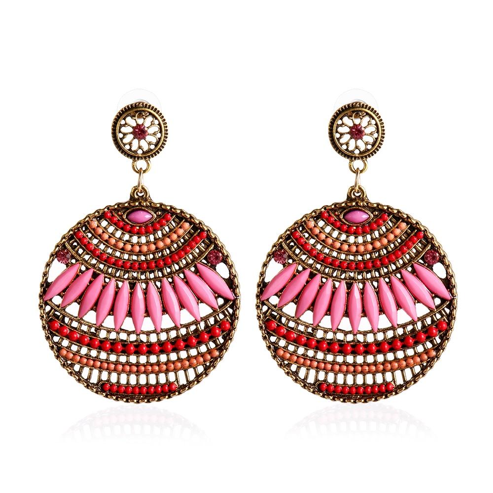 1 Pairs 2019 Women's Retro Vintage Bohemian Boho Style Multicolor Resin Beaded Drop Dangle Hollow Earrings Fashion Jewelry Gifts