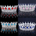 Princess Rhinestone Crystal Crowns Wedding Tiaras Party Accessories Head Jewelry (Blue+Silver)