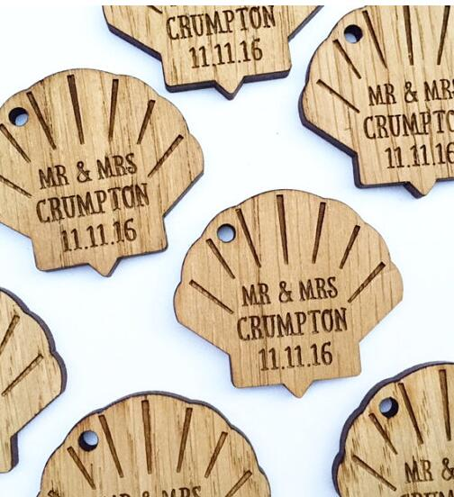 personalized seashell wooden nautical beach wedding new year gift favor tags labels party bridal shower decor