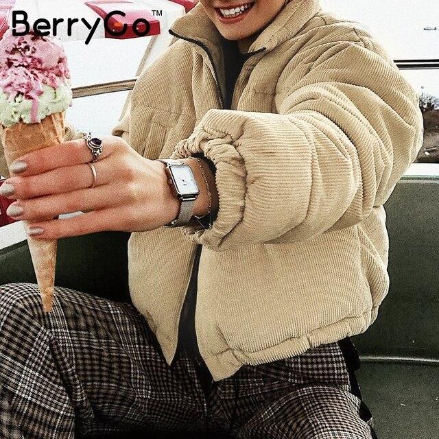 BerryGo Casual corduroy thick parka overcoat Winter warm fashion outerwear coats Women 2018 khaki streetwear jacket coat female 1