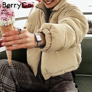 Image 2 - BerryGo Casual corduroy thick parka overcoat Winter warm fashion outerwear coats Women oversize streetwear jacket coat female