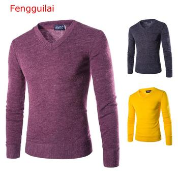 Fengguilai Autumn Men Knitting Sweater V-Neck Striped Slim Fit Knit Pullovers Casual Winter Keep Warm Sweaters