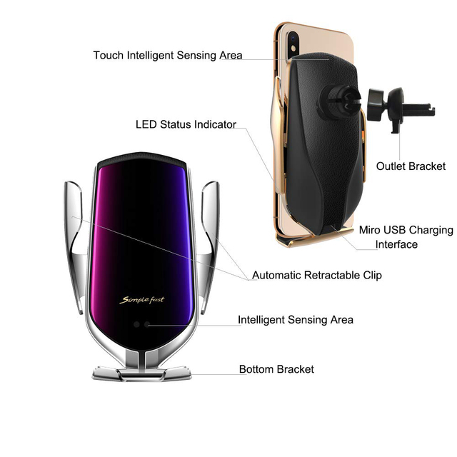 Wireless Car Charger 10W Fast Charging Holder Compatible Automatic Clamping Fast Charging Phone Holder Mount For Smart Phone