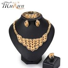 MuKun Fashion Jewelry Sets Nigerian Wedding African Beads Set Women Gold Color Italian Egyptian Costume
