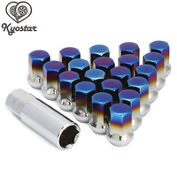 Car Stainless Steel Titanium Blue Wheel Lug Nuts Car M12X1.5 32mm Extended Universal Racing Wheel Nuts