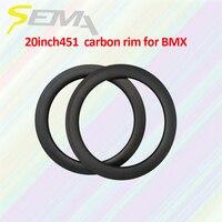 SEMA 20 inch 451 50mm depth T700 full carbon rim best quality carbon fiber rim for recumbent wheel clincher rim road bicycle
