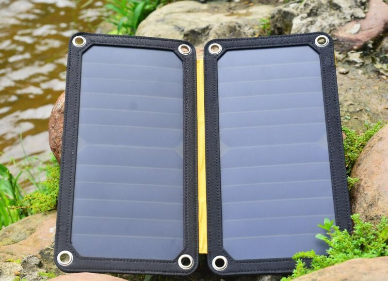 цена ESUNPOWER 14W high Efficiency Foldable Sunpower Solar Panel Charger Dual Output Solar Power Bank Camping Charger for Cell Phone