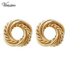 Pendientes redondos Vodeshanliwen de Metal dorado de alta calidad nuevos pendientes geométricos bohemios de moda para mujer joyería de moda