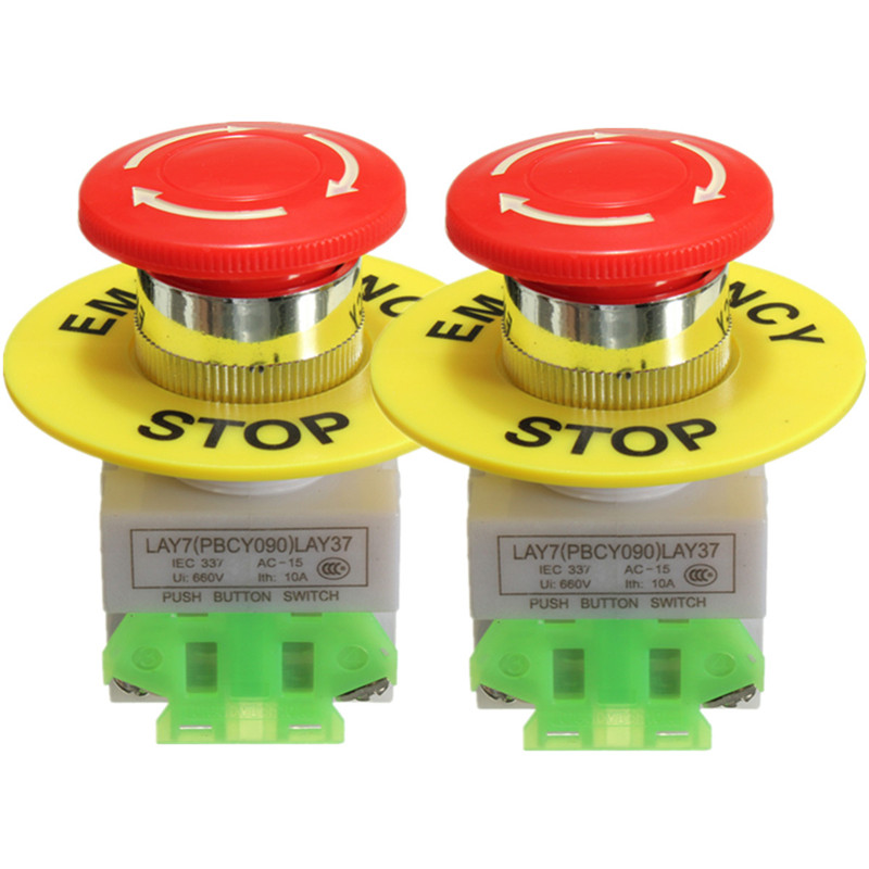 2Pcs Amico Red Mushroom Cap 1NO 1NC DPST Emergency Stop Push Button Switch AC 660V 10A e-stop switch