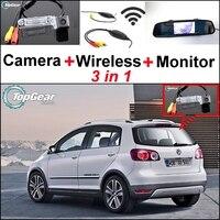 3 in1 Speciale Camera Wireless Receiver + + Monitor Dello Specchio facile Sistema di Parcheggio Per VW Volkswagen Golf Plus CrossGolf Croce Golf