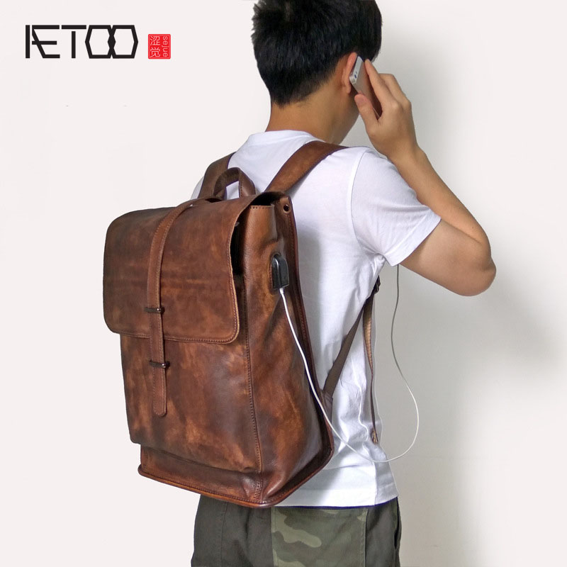 AETOO Genuine Leather cow leather Laptop Backpack External USB Charge Computer Backpacks Anti-theft Waterproof Bags for Men