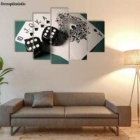 5 Painéis HD Impresso Pintura Da Lona de Impressão de poker Room decor impressão Imagem do cartaz Da Lona P0831
