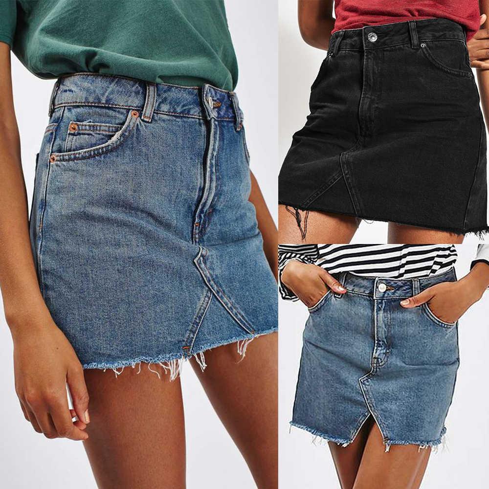 CALOFE nowe letnie jednokolorowe spódnica w stylu empire jeansowe damskie wysokiej talii Casual-line Denim Distressed Bodycon krótki dżins spódnica 2020