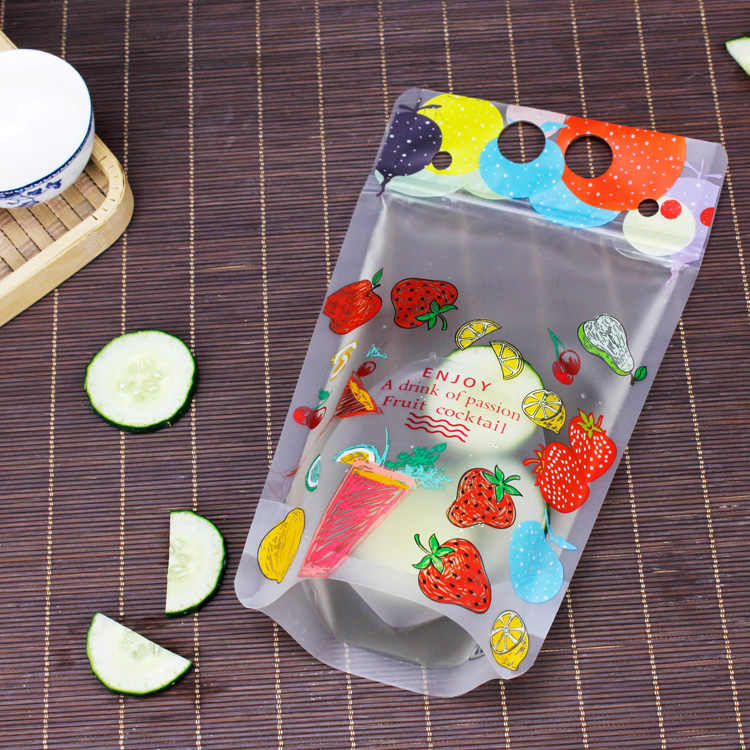 HAREIRON Portable Milk Tea Bag Disposable Beverage Pouch Creativity Self-Sealed Plastic Beverage Plastic Beverage Packet 400ml