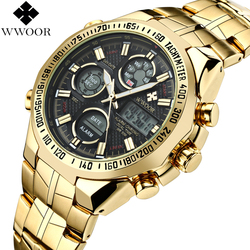 Mens Watches Top Brand Luxury Quartz Analog <font><b>LED</b></font> Digital Sports Watch Men Gold Military Wrist Watch Male Clock Relogio Masculino