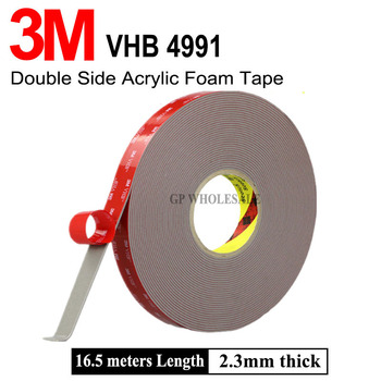 Cinta adhesiva VHB 3M 4991 de doble cara cinta de montaje de espuma acrílica gris 2,3mm de espesor 15mm de ancho 16,5 metros de longitud