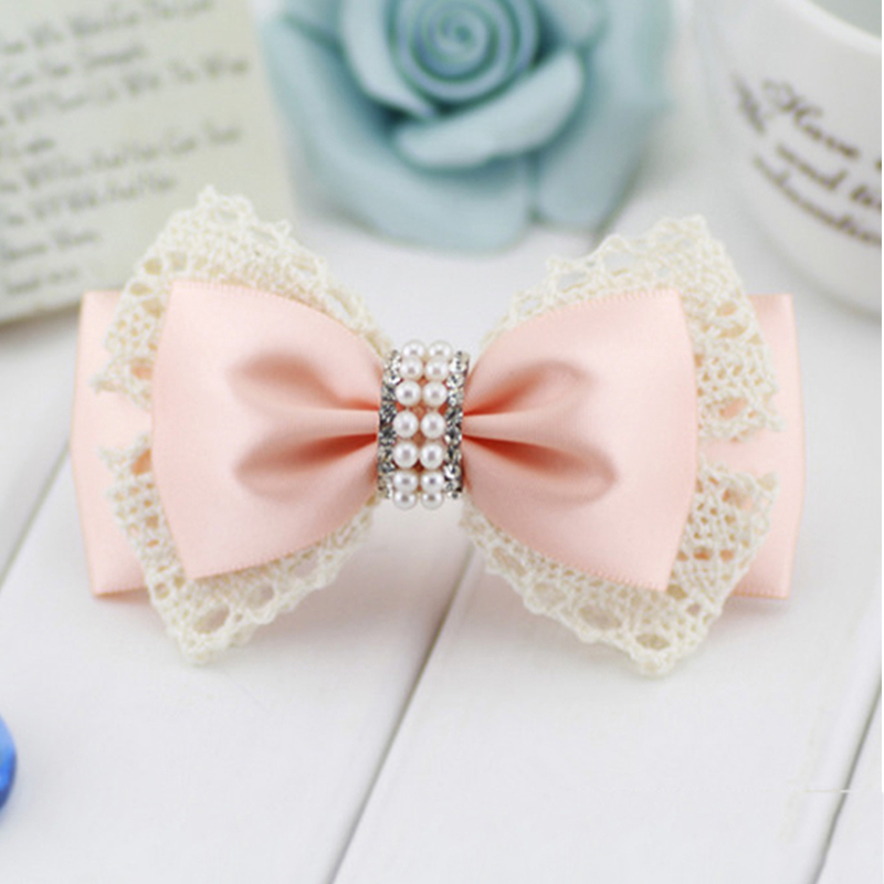 Korean Fashion Feminine Headdress Handmade Head Flower Hair Accessories Ribbon Bow Diamond Hairpin Side Folder