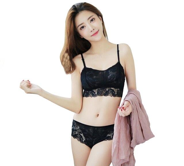 Mingmo  Jepang Push Up Bra Set Sexy Cup Tipis Indah Wanita Pakaian Bra Transparan Renda