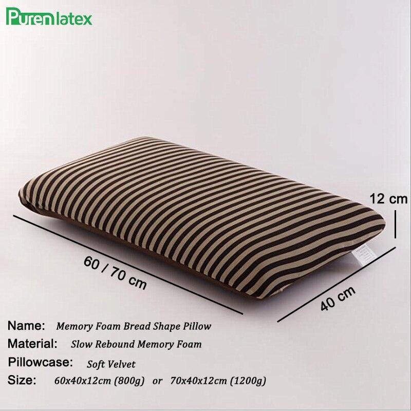PurenLatex 60*40*12 Big Oblong Tiras Macio Da Espuma Da Memória Travesseiro Ortopédico Eczema Evitada Espondilose Cervical Travesseiro Vértebra