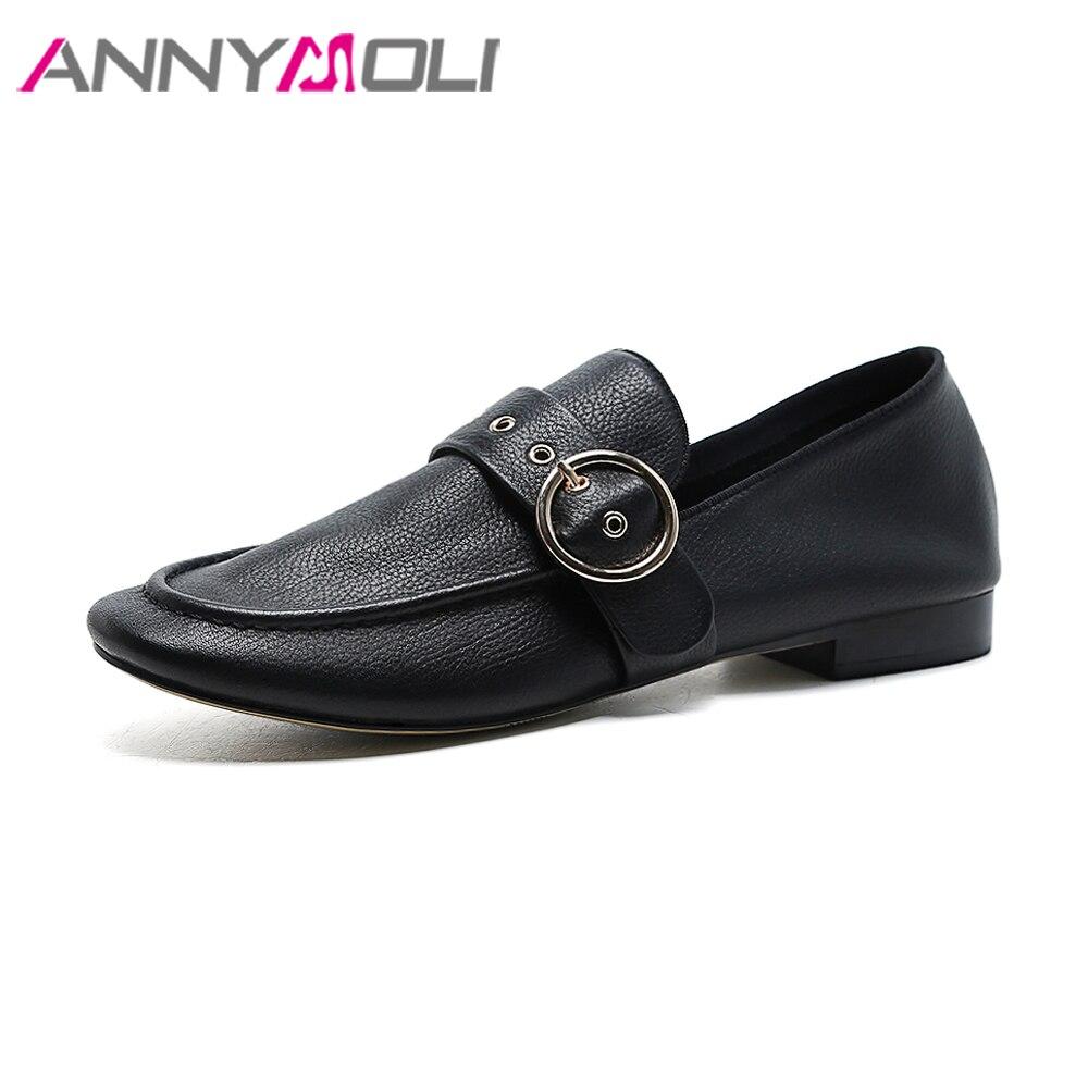 ANNYMOLI femmes mocassins en cuir véritable chaussures mocassins 2018 appartements marque Designer chaussures printemps blanc boucle sans lacet chaussures noir