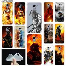 case Soft Cover TPU Coque For Samsung Galaxy J6 J8 J5 J7 J4 Core Plus 2018 2016 2017 EU Prime Pro Ace Firefighter Heroes Fireman(China)
