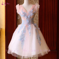 Waulizane Candy Color Elegant Sleeveless V Neck Ball Gown Prom Dresses Ruched Pleats Beading Appliques Lace