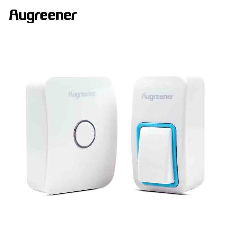 AuGreener No Battery Need EU Plug-in Wireless Doorbell Waterproof Door Bell AC220V With 1 Doorbell Push Button+1 Indoor Receiver