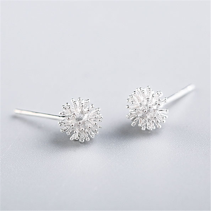 Newest 925 Sterling Silver Women's Jewelry Fashion Tiny 7mmX7mm Dandelion Stud Earrings Gift For Girls Kid Lady Eh255