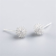 Newest 925 Sterling Silver Women's Jewelry Fashion Tiny 7mmX7mm Dandelion Stud Earrings Gift For Girls Kid Lady eh255(China)