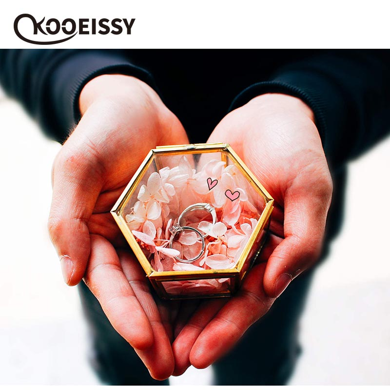 Case Jewelry-Box Flower-Plants Gold Nordic Wedding-Decor Mini Glass Retro Earring-Ring