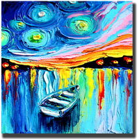 100% Hand painted Modern Home Decor Wall Art Picture Boat With Frame Oil Painting On Canvas For Living Room Cafe