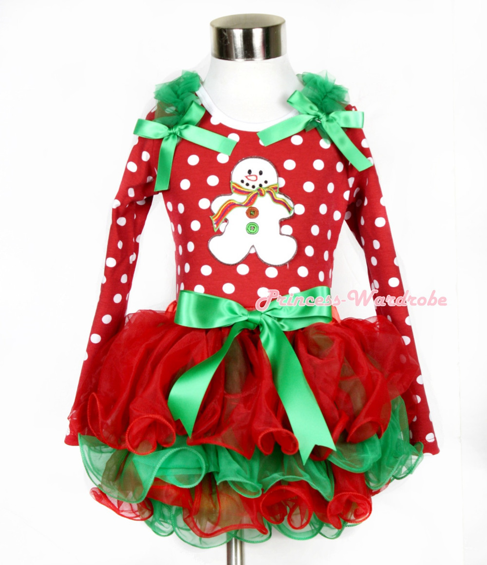 Xmas Kelly Green Bow Red Green Petal Pettiskirt Minnie Dots Long Sleeve Top Green Ruffles Christmas Gingerbread Snowman MAMW320 christmas hat reindeer white top minnie dots petal pettiskirt girls outfit nb 8y