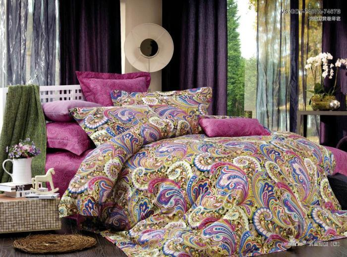 Luxury Egyptian Cotton Pink Paisley Boho Bedding Comforter