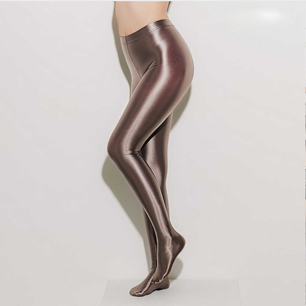 DROZENO Sexy LEOHEX Stockings Satin Glossy Opaque Pantyhose Shiny Trousers Fashion Japanese Slim High Waist Thights Women LEOHEX