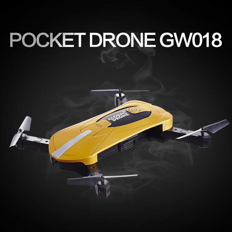 Drone mondial GW018 Mini pliable Selfie poche Drone Wifi téléphone contrôle Quadcopte RC avec 2 millions de caméra Wifi