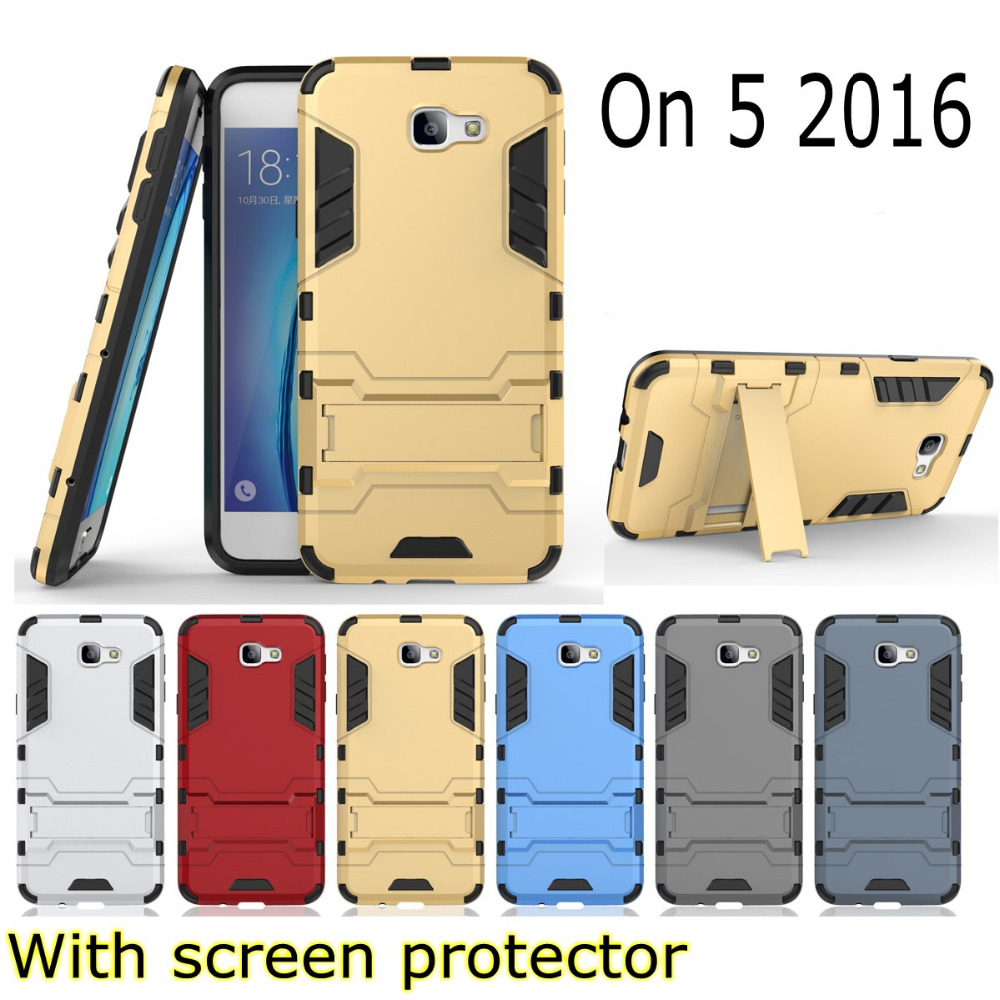 Armor 2 in 1 metal plating plastic hard Kickstand holder Combo case cover for Samsung Galaxy On5 2016 on 5 G5700 G570F j5 prime