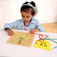 Baby Wooden Toy 3D Puzzle Multifunctional Threading Board Lacing Toy Kids Montessori Early Educational Toys For