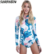 Print Floral One Piece Swimsuit Long Sleeve Swimwear Women Bathing Suit Retro Swimsuit Vintage One-piece Surfing Swim Suits XXL